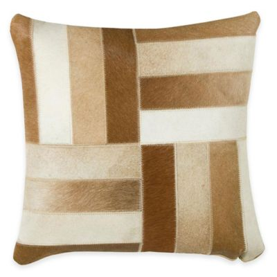 Rizzy Home Hide Leather Square Throw Pillow in Brown