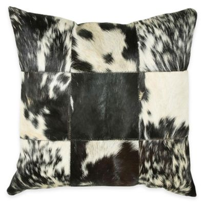 Rizzy Home Hide Leather Square Throw Pillow in Black