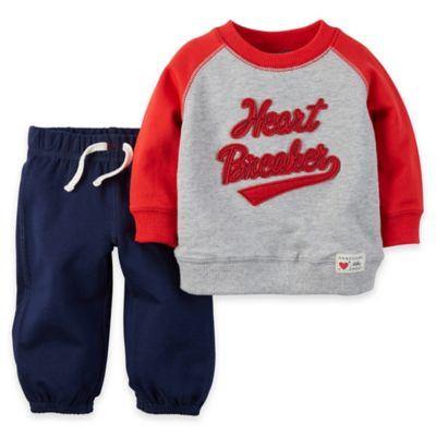 """carter's® Newborn 2-Piece """"Heartbreaker"""" Long Sleeve Shirt and Pant Set"""