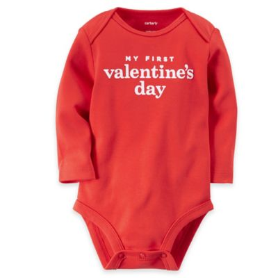 "carter's® Newborn ""My First Valentine's Day"" Long Sleeve Bodysuit in Red/White"