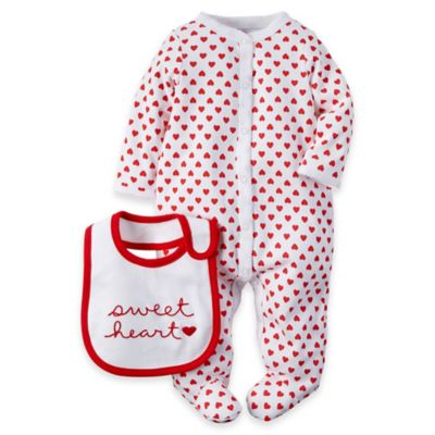 "carter's® Newborn 2-Piece ""Sweetheart"" Footie and Bib Set in Red/White"