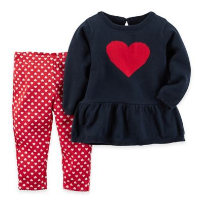 carter's® Newborn 2-Piece Long Sleeve Heart Peplum Top and Pant Set in Navy/Red