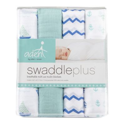aden® by aden + anais® 4-Pack Muslin swaddleplus® Blankets in Sailing Sea