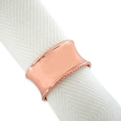 Beaded Elegance Napkin Ring in Rose Gold