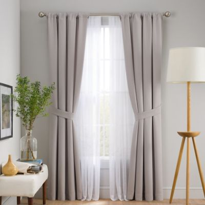 Skyler 6-Piece 63-Inch Rod Pocket Window Curtain Panel Set in Grey
