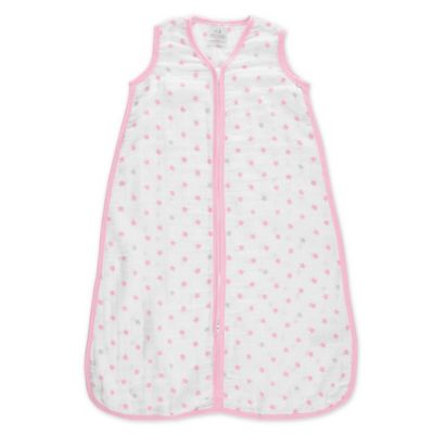 aden® by aden + anais® Small Darling Muslin Wearable Blanket in White/Pink