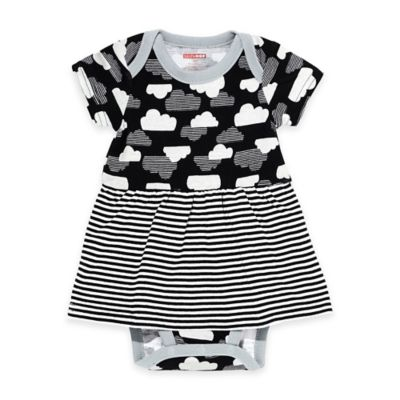 SKIP*HOP® Newborn Star-Struck Cloud Short Sleeve Bodysuit Dress in Black/White