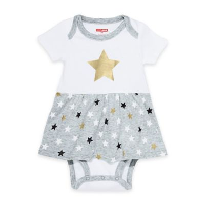 SKIP*HOP® Newborn Star-Struck Star Short Sleeve Bodysuit Dress in White/Grey/Gold