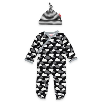 SKIP*HOP® Size 6M 2-Piece Star-Struck Cloud Footie and Striped Hat Set in Black/White