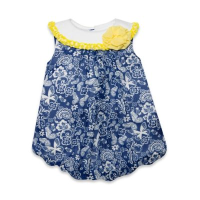 Baby Essentials Size 6M Sleeveless Paisley Floral Print Chiffon Bubble Romper in Navy/White
