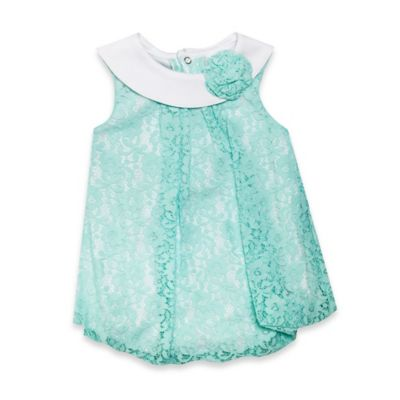 Baby Essentials Size 6M Lace Overlay Bubble Romper in Mint