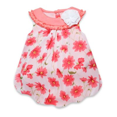 Baby Essentials Size 6M Sleeveless Floral Chiffon Bubble Romper in White/Coral
