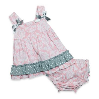Baby Essentials Size 6M 2-Piece Sleeveless Damask Dress and Ruffle Diaper Cover Set in Pink