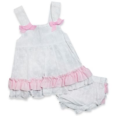 Baby Essentials Size 9M 2-Piece Sleeveless Eyelet Dress and Ruffle Diaper Cover Set in White/Pink