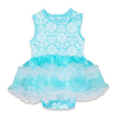 Baby Essentials Size 3M Sleeveless Damask Print Tutu Dress in Blue