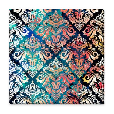 Damask-In-Coral 36-Inch x 36-Inch Canvas Wall Art