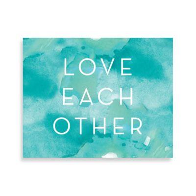 Love Sea Blue Watercolor 16-Inch x 20-Inch Canvas Wall Art