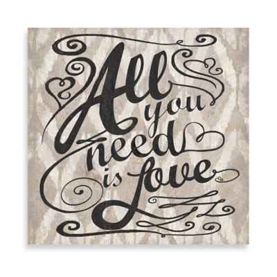 "Ikat ""All You Need Is Love"" 12-Inch x 12-Inch Canvas Wall Art"