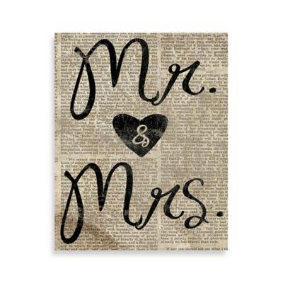 """Mr. & Mrs."" Newspaper 8-Inch x 10-Inch Canvas Wall Art"