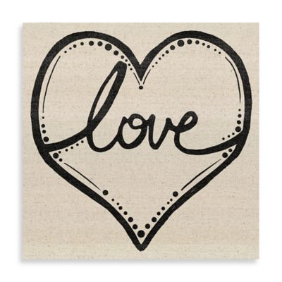 Love Script Heart 20-Inch x 20-Inch Canvas Wall Art