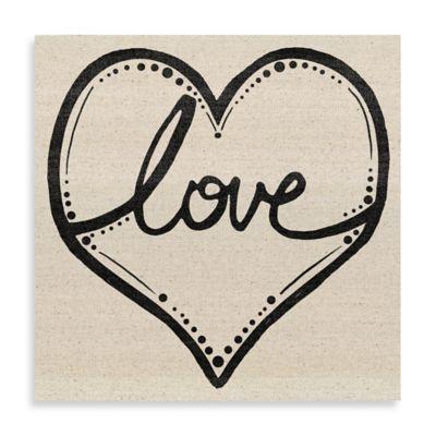 Love Script Heart 24-Inch x 24-Inch Canvas Wall Art