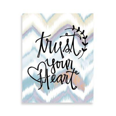 "Chevron ""Trust Your Heart"" 16-Inch x 20-Inch Canvas Wall Art"