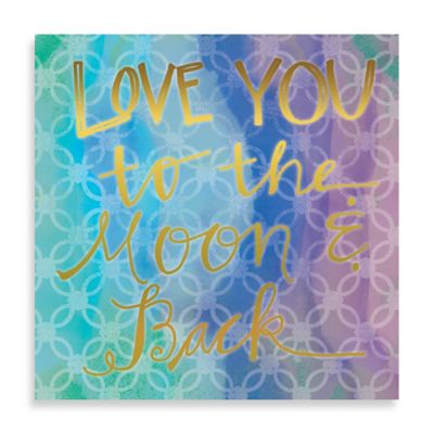 """""""Love You to the Moon and Back"""" Watercolor 16-Inch x 16-Inch Canvas Wall Art"""