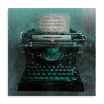 Typewriter Love Letter 16-Inch x 16-Inch Canvas Wall Art
