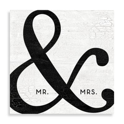 """Mr. & Mrs."" Black Ampersand 16-Inch x 16-Inch Canvas Wall Art"