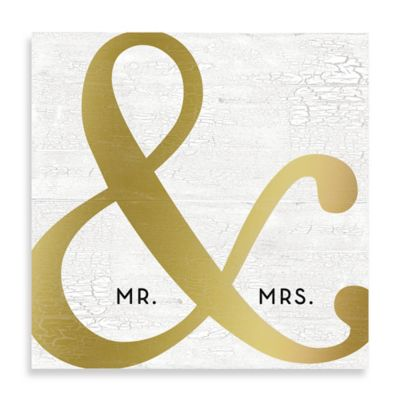 """Mr. & Mrs."" Golden Ampersand 16-Inch x 16-Inch Canvas Wall Art"