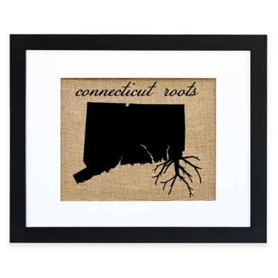 Connecticut Roots Burlap Wall Art in Black Frame