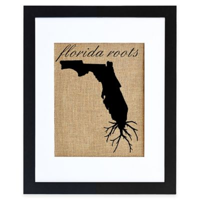 Florida Roots Burlap Wall Art in Black Frame