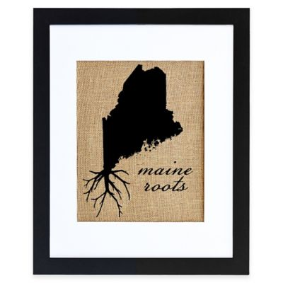 Maine Roots Burlap Wall Art in Black Frame