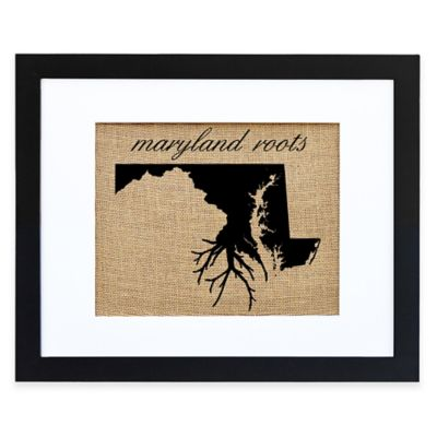 Maryland Roots Burlap Wall Art in Black Frame
