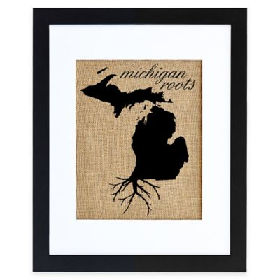 Michigan Roots Burlap Wall Art in Black Frame