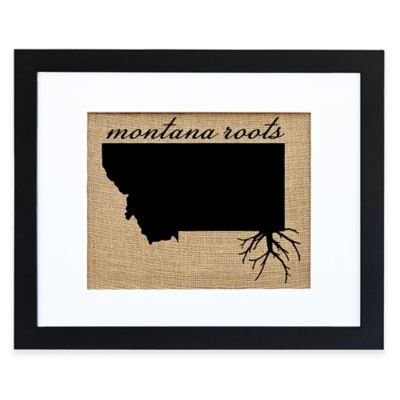 Montana Roots Burlap Wall Art in Black Frame