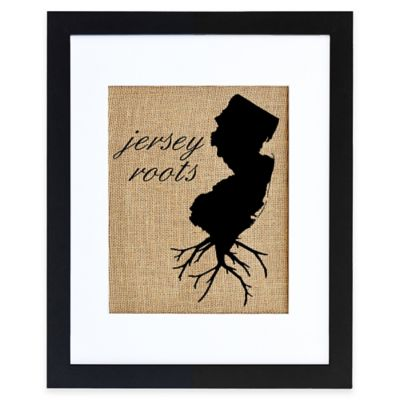 New Jersey Roots Burlap Wall Art in Black Frame