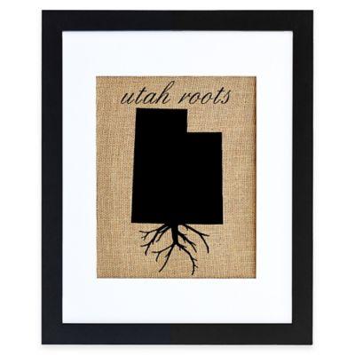Utah Roots Burlap Wall Art in Black Frame