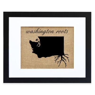 Washington Roots Burlap Wall Art in Black Frame