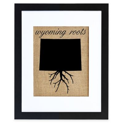 Wyoming Roots Burlap Wall Art in Black Frame