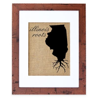 Fiber and Water Illinois Roots Burlap Wall Art in Rustic Walnut Frame