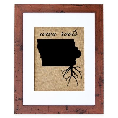 Fiber and Water Iowa Roots Burlap Wall Art in Rustic Walnut Frame