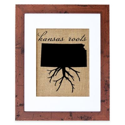 Fiber and Water Kansas Roots Burlap Wall Art in Rustic Walnut Frame