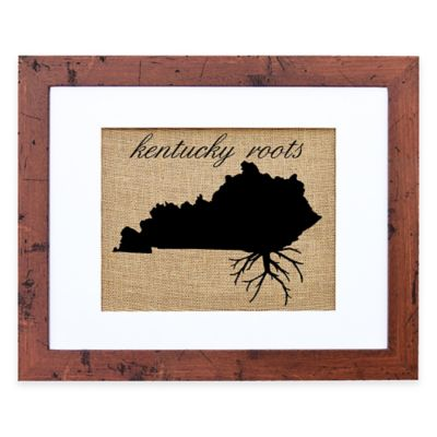 Fiber and Water Kentucky Roots Burlap Wall Art in Rustic Walnut Frame