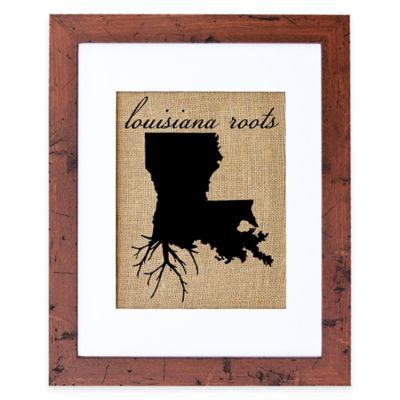 Fiber and Water Louisiana Roots Burlap Wall Art in Rustic Walnut Frame