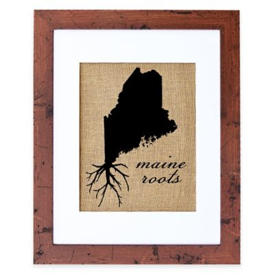 Fiber and Water Maine Roots Burlap Wall Art in Rustic Walnut Frame