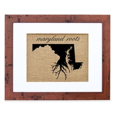 Fiber and Water Maryland Roots Burlap Wall Art in Rustic Walnut Frame