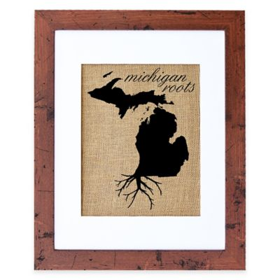 Fiber and Water Michigan Roots Burlap Wall Art in Rustic Walnut Frame