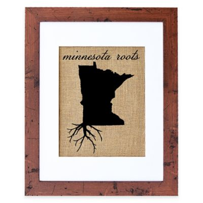 Fiber and Water Minnesota Roots Burlap Wall Art in Rustic Walnut Frame
