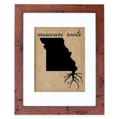 Fiber and Water Missouri Roots Burlap Wall Art in Rustic Walnut Frame